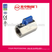 304 Mini Ball Valve F/F Threaded Ends PN63 Mini Ball Valve